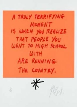 "CONFETTI #41: ""A truly terrifying moment . . . ""; Limited Edition, Signed Silkscreen Print. Kurt Vonnegut, Jr."