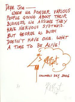 "CONFETTI #63: ""Dear Joe -- When we ponder various people . . . ""; Limited Edition, Signed Silkscreen Print. Kurt Vonnegut."