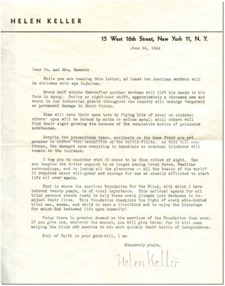 TYPED LETTER SIGNED. Helen Keller.