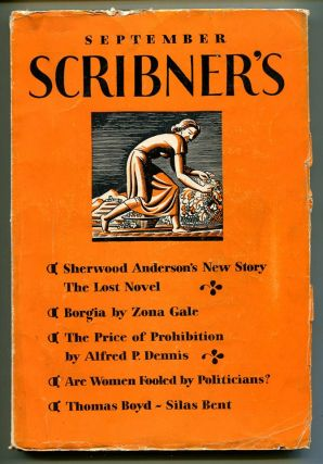 """THE LOST NOVEL"": In Scribner's Magazine, Volume LXXXIV, No. 3. Sherwood Anderson"