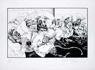 """LIZARD LOUNGE VEGAS"": Limited Edition, Signed Silkscreen Print. Ralph Steadman, Hunter S. Thompson."