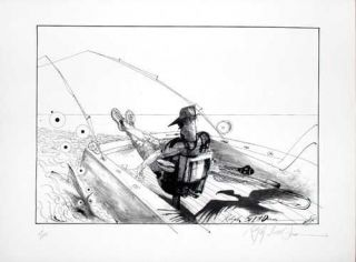 LONO'S FIGHTING CHAIR: Limited Edition, Signed Silkscreen Print. Ralph Steadman, Hunter S. Thompson