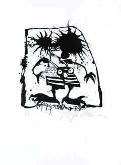 MEAN MOUSE: Limited Edition, Signed Silkscreen Print. Ralph Steadman, Hunter S. Thompson.