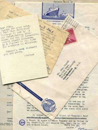 CORRESPONDENCE FROM NELSON ALGREN TO JOHN CIARDI: Six typed letters, postcard, Christmas card all...