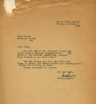 CORRESPONDENCE FROM NELSON ALGREN TO JOHN CIARDI: Six typed letters, postcard, Christmas card all signed by Algren.