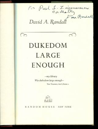 DUKEDOM LARGE ENOUGH: Later printing of this highlight of book related memoirs.