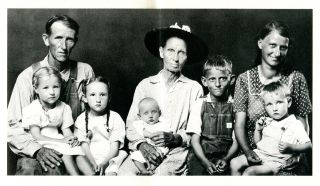 """A POEM; [On the photograph by Mike Disfarmer, """"GEORGE AND ETHEL GAGE; With Mother Ida Gage & Their First Five Children: Loretta, Ida, Baby Ivory, Jesse, and Leon""""]."""