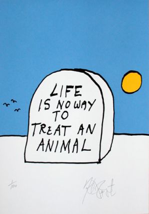 """TROUT'S TOMB"" POLYCHROME EDITION: Limited Edition, Signed Silkscreen Print. Kurt Vonnegut"