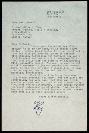TYPED LETTER SIGNED. Raymond Chandler