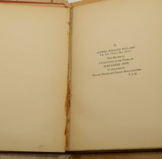 """A POPE LIBRARY: A Catalogue of Plays, Poems, and Prose Writings Collected by Thomas James Wise. [TOGETHER WITH """"Notes on Editions of the Dunciad; From 'Notes and Queires,' nos. 268-270]."""