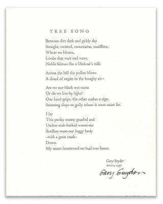TREE SONG; and DOGWOOD, FOREST - YOSEMITE. Gary Snyder, photographer, Michael Mundy