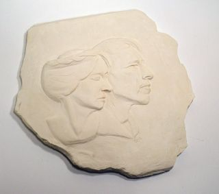 THEY MADE THEIR DREAMS FOR THEMSELVES: Plaster Bas Relief Sculpture of Robinson and Una Jeffers....