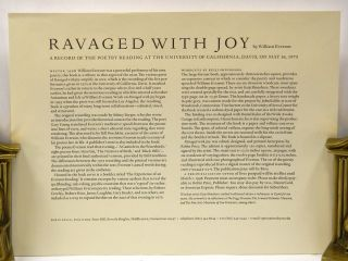 RAVAGED WITH JOY: A Record of the Poetry Reading at the University of California, Davis, on May 16, 1975.