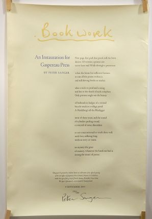 "Bookwork: ""An Instauration for Gaspereau Press"" [Broadside Poem]. Peter Sanger, Gaspereau Press"