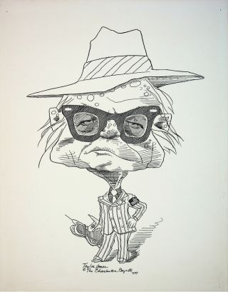 ORIGINAL CARICATURE DRAWING OF TRUMAN CAPOTE; Signed by the artist. Truman Capote, artist Taylor...