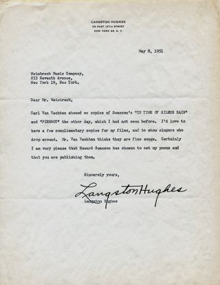 TYPED LETTER SIGNED BY LANGSTON HUGHES TO EUGENE WEINTRAUB, WEINTRAUB MUSIC COMPANY: About...