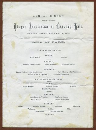 THREE EARLY MENUS FROM RESTAURANTS IN BOSTON: Parker House; Ober's; and Hotel Nantasket. Boston...