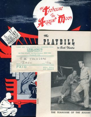 PLAYBILLS, SOUVENIR PLAYBOOKS & TICKET STUBS FOR SIX 1950's BROADWAY MUSICALS: The Teahouse of...