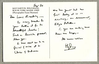CORRESPONDENCE FROM ONE POET TO ANOTHER; (Inscribed broadside & personal postcard). May Sarton,...