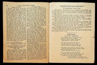 """GOLD AND BLUE STARS: Vol. 2, Oct. 1919; """"Give Soldiers Square Deal and Six Months' Pay; Erect memorials for the Fallen! Keep the League of Nations Out of Politics"""""""
