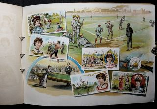 GAMES AND SPORTS; (Lithograph album for Goodwin Old Judge and Gypsy Queen Cigarette tobacco trading cards).
