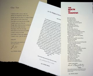 "FIVE (5) SIGNED BROADSIDE POEMS: Includes ""Clear Text"" (#9/100) and ""My Father's Ashes"" (#8/100)..."
