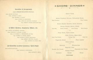 """HOTEL NANTASKET BOSTON HARBOR MENU; for the """"Ancient and Honorable Artillery Company of Massachusetts Harbor Excursion and Shore Dinner Complimentary to Troy Citizens Corps / Steamer Gov. Andrew under the command of Capt. Samuel Hichborn and disembarking for dinner at the Hotel Nantasket, Boston Harbor, June 7th, 1892."""""""